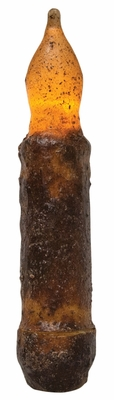 Primitive Battery Operated Taper Candle With Timer -Burnt Mustard Cinnamon - 4in