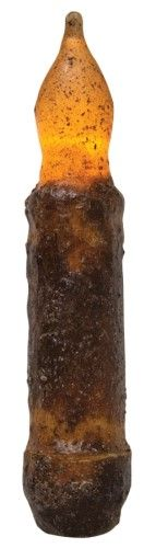 Primitive Battery Operated Taper Candle With Timer - Burnt Mustard Cinnamon - 4in