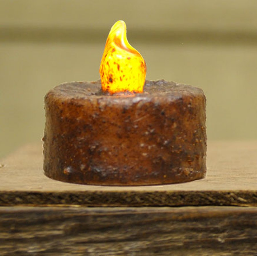 Primitive Battery Operated Tealight Candle - Burnt Mustard - 1.75in