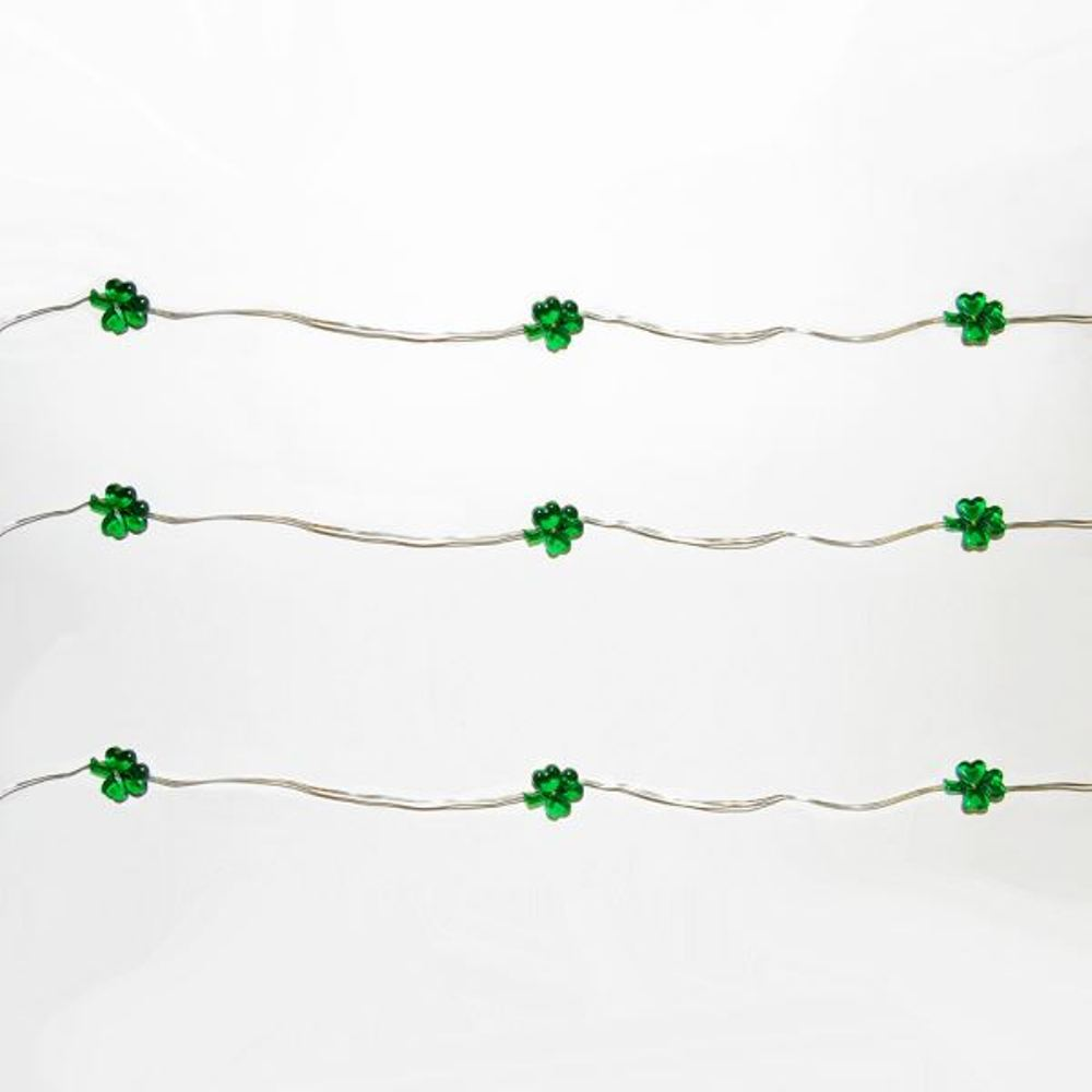 Battery Operated Timer LED Light Set - Shamrock - Set of 20