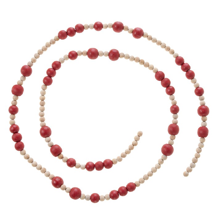 Beaded Garland - Natural & Red Wood Bead - Mixed Diameter Beads - 5ft