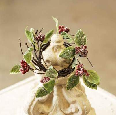 Berry Candle Ring - Frosted Winterberry Holly - 3.5in