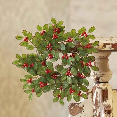 Berry Candle Ring - Red-Tipped Holly with Berries - 3.5in