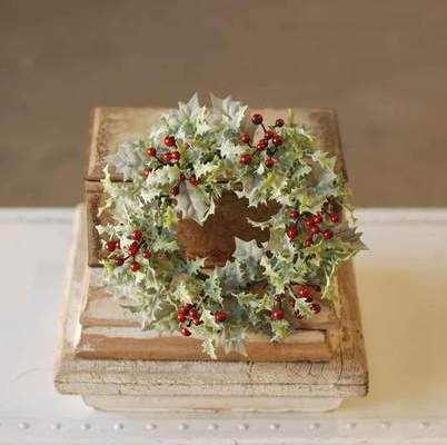 Berry Candle Ring - Winter Holly with Red Berries - 4 Inch
