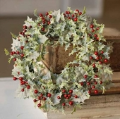 Berry Candle Ring - Winter Holly with Red Berries - 6 Inch