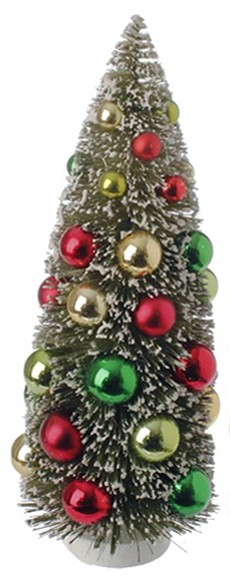 Bottle Brush Tree - Sisal Tree with Ornaments - 12in