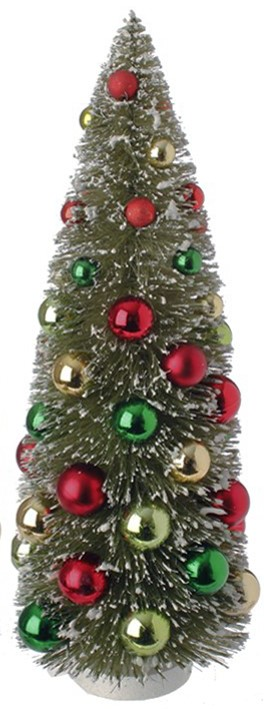 Bottle Brush Tree - Sisal Tree with Ornaments - 15in