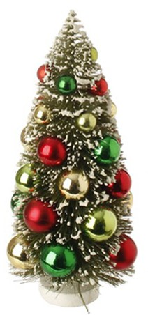Bottle Brush Tree - Sisal Tree with Ornaments - 9in