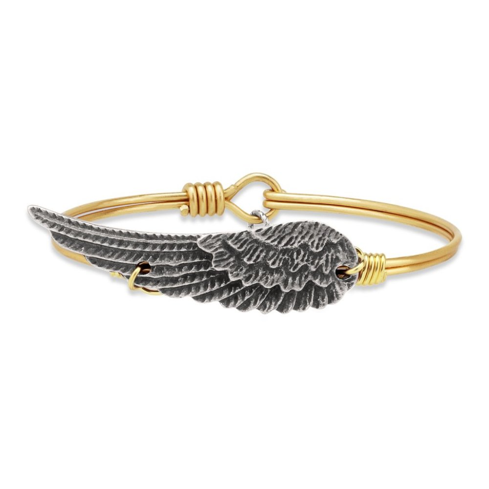 Luca + Danni Bracelet - Angel Wing Bangle - Brass