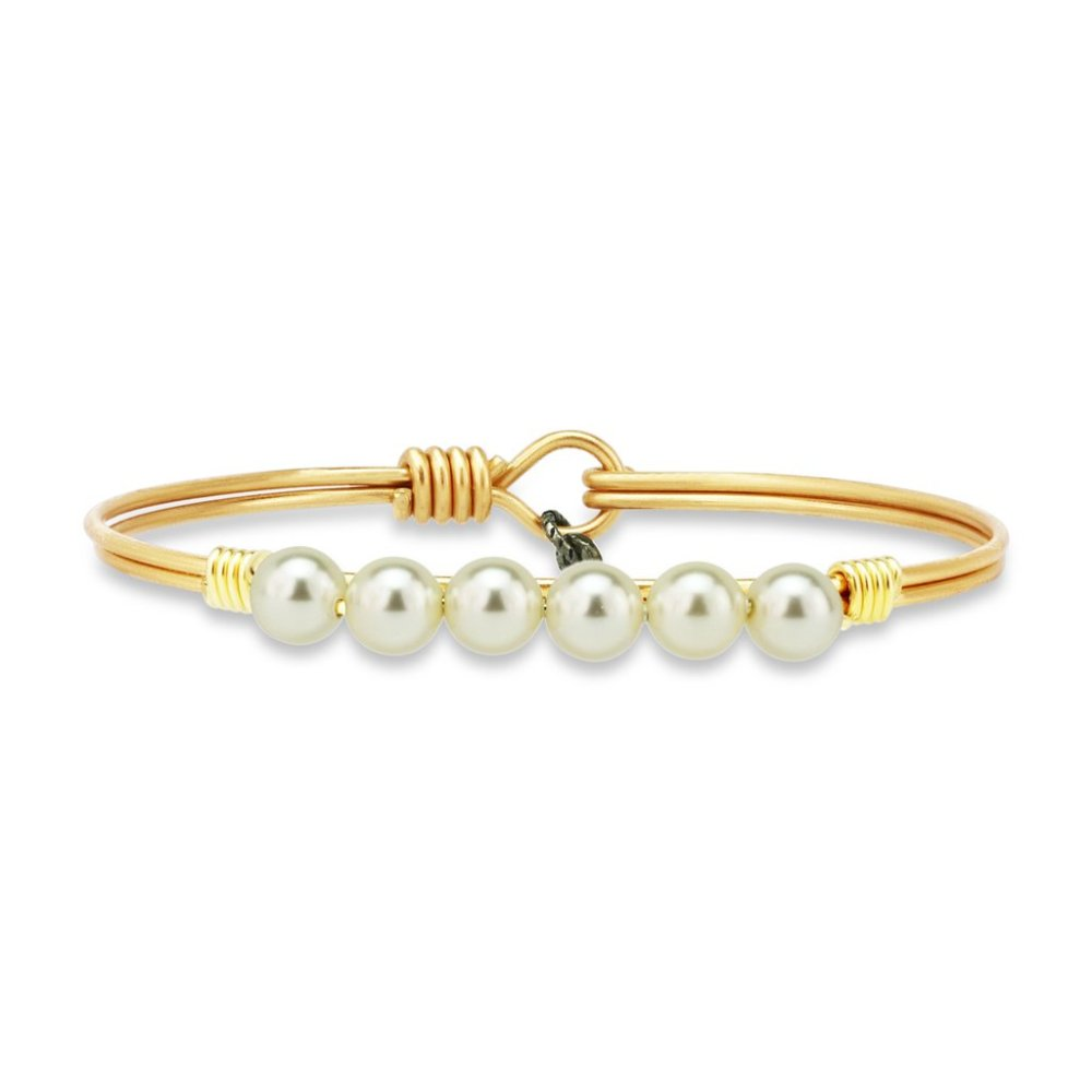 Luca + Danni Bracelet - Crystal White Pearl Bangle - Brass