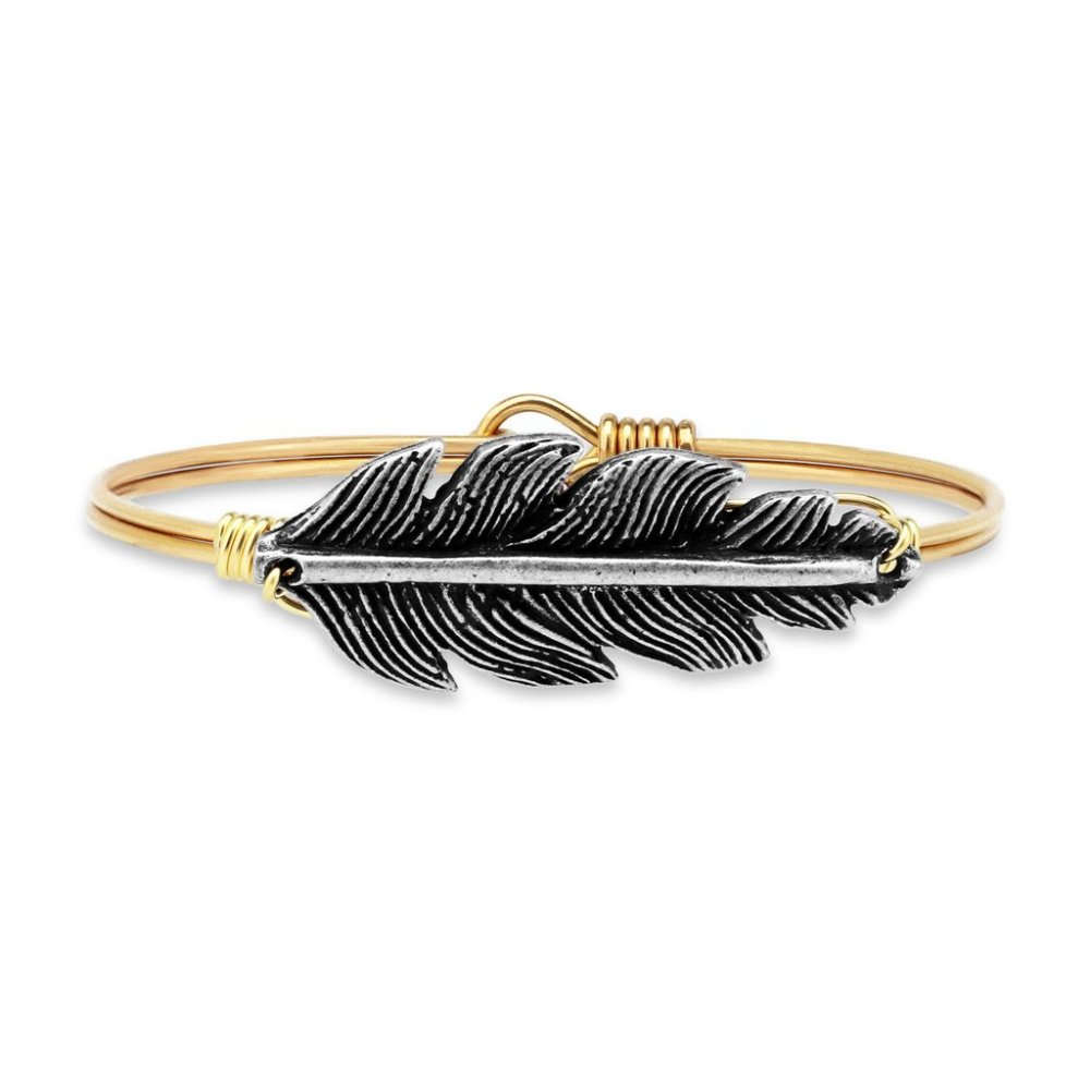 Luca + Danni Bracelet - Lucky Feather Bangle - Brass