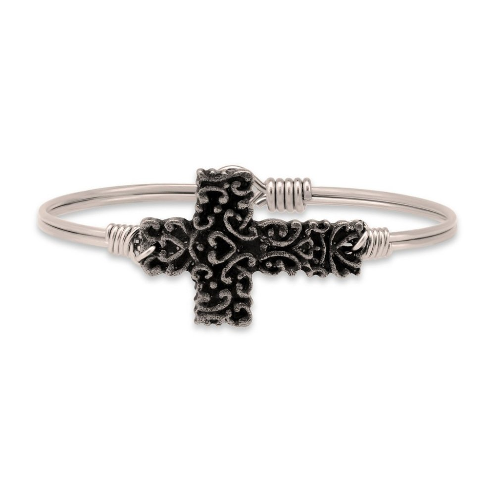 Luca + Danni Bracelet - Ornate Cross Bangle - Silver