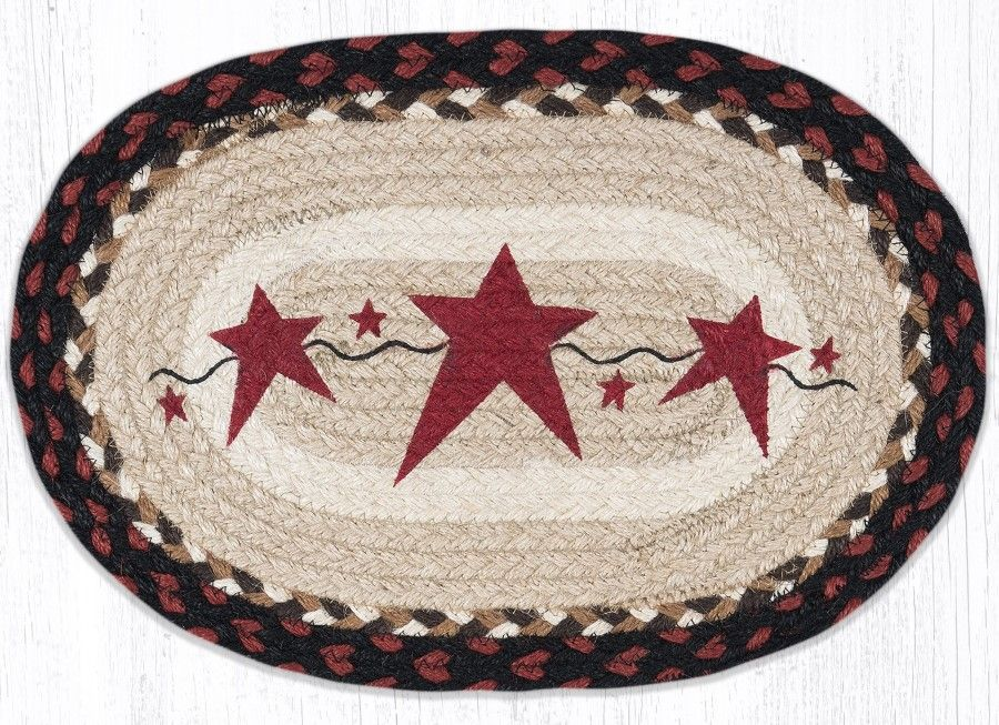 Braided Placemat - Large Oval - Primitive Burgundy Stars - 13in x 19in