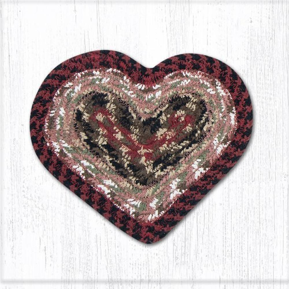 Earth Rug - Braided Heart Trivet - Burgundy/Mustard - 8x7