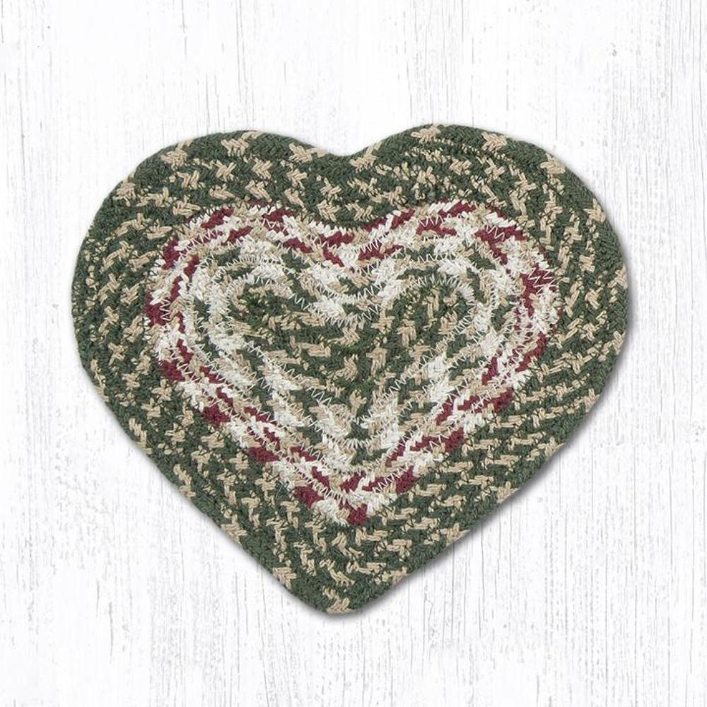 Earth Rug - Braided Heart Trivet - Burgundy/Olive - 8x7