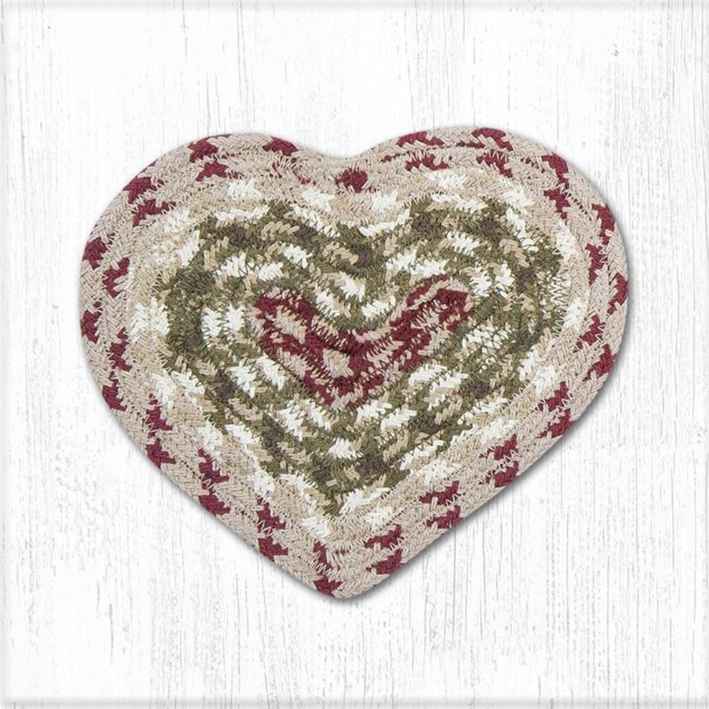 Earth Rug - Braided Heart Trivet - Olive/Burgundy/Gray - 8x7