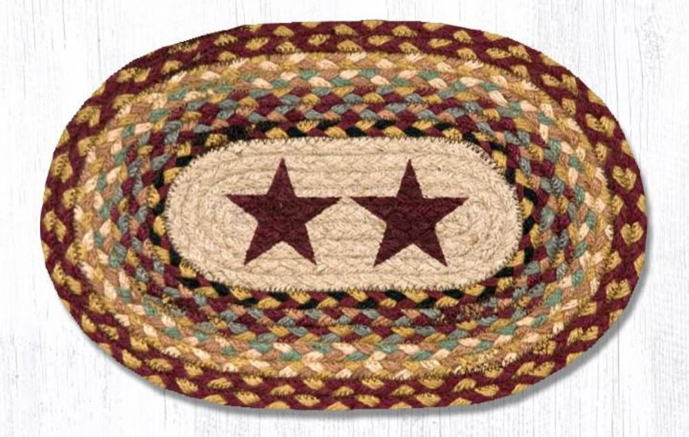 Earth Rug - Braided Mini Oval - Burgundy Stars - 10x15