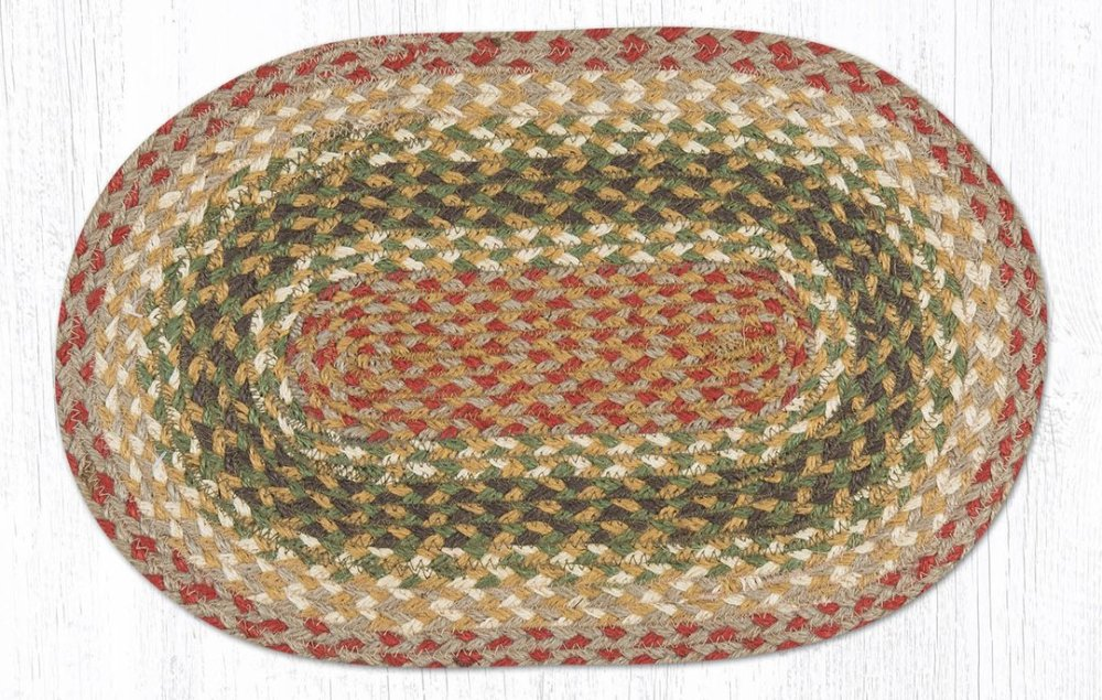 Earth Rug - Braided Mini Oval - Olive/Burgundy/Gray - 10x15