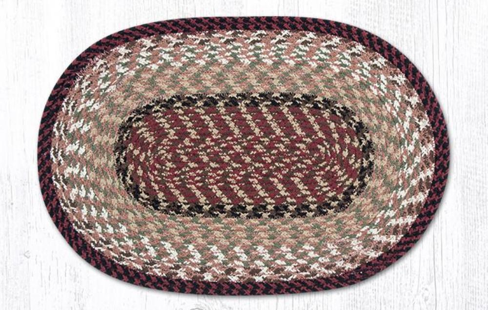 Earth Rug - Braided Oval Placemat - Burgundy/Mustard - 13x19