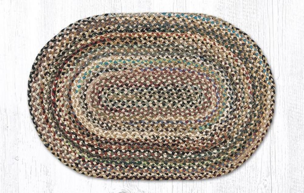 Earth Rug - Braided Oval - Multi-Color - 20x30