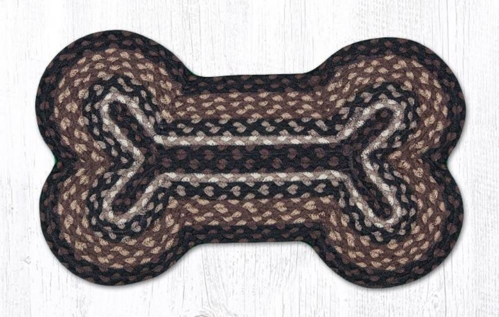 Earth Rug - Dog Bone Pet Placemat - Mocha/Frappuccino - 13in x 22in