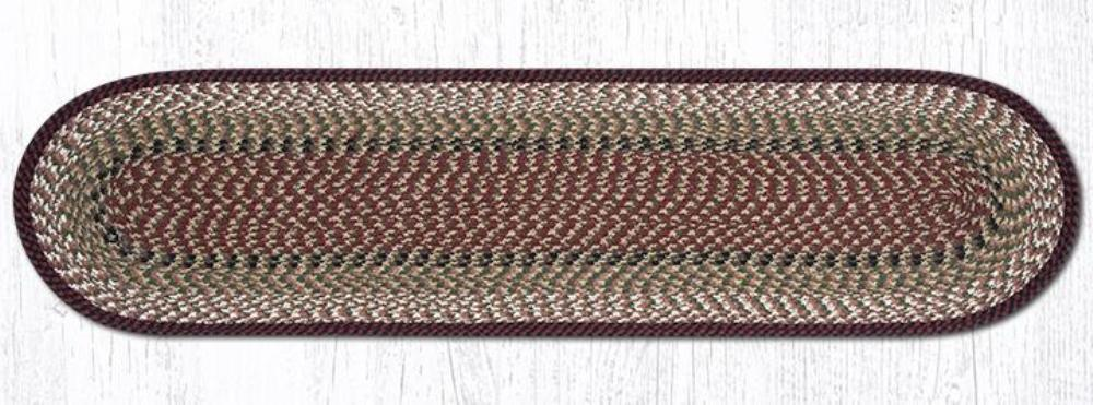 Earth Rug - Braided Oval Table Runner  - Burgundy/Mustard - 13x48