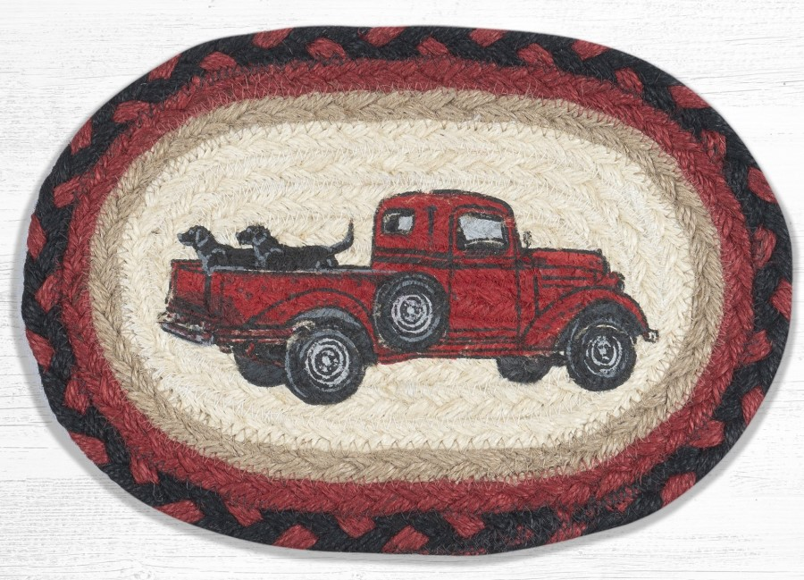 Braided Placemat - Small - Black Lab Pickup Truck - 10in x 15in