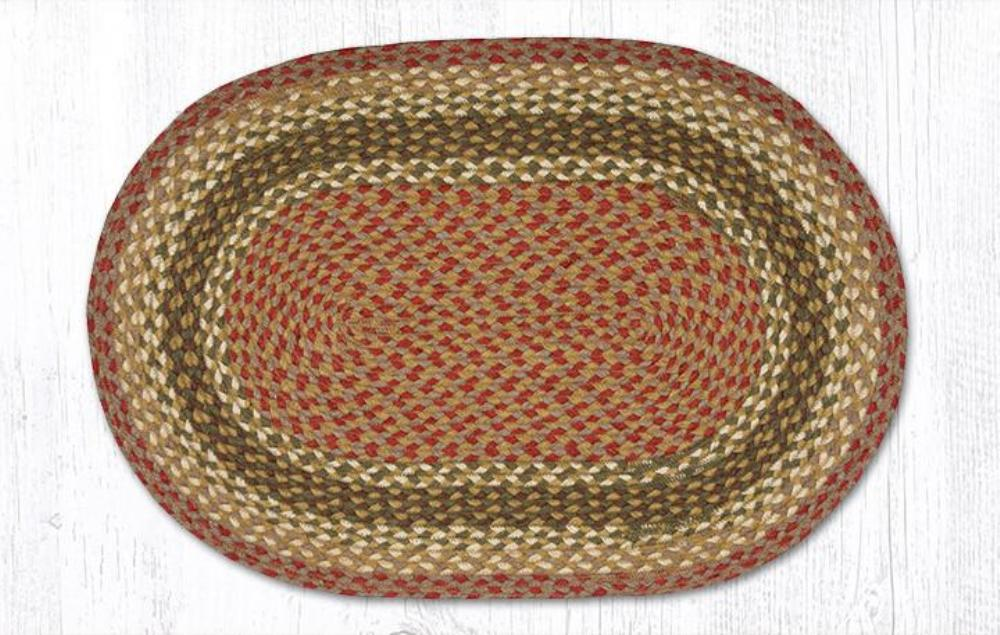 Earth Rug - Braided Oval - Olive/Burgundy/Gray - 20x30