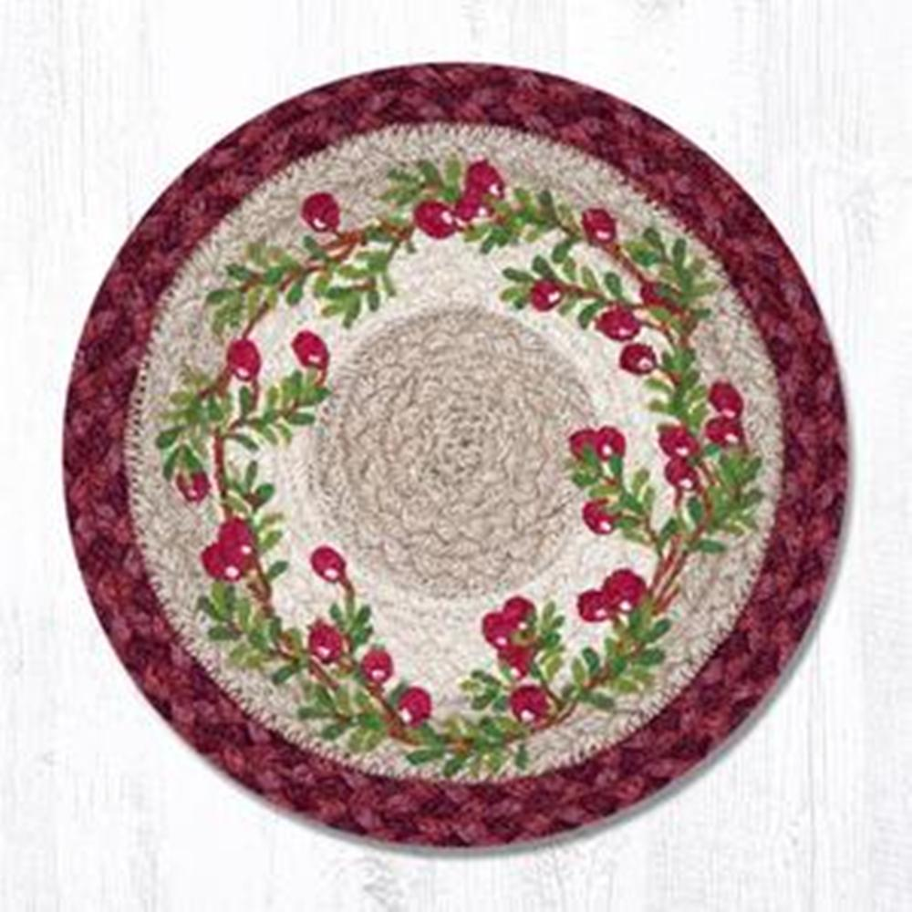 Earth Rug - Braided Round Trivet - Cranberries - 10in