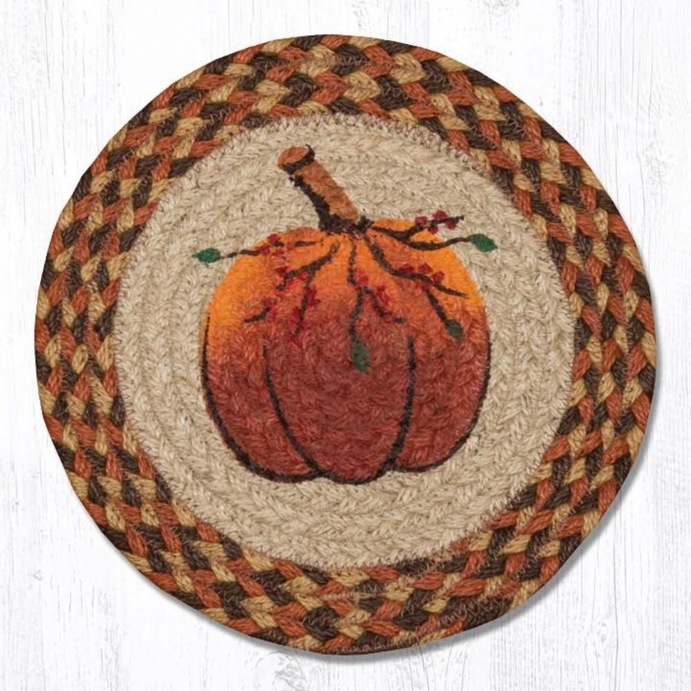 Earth Rug - Braided Round Trivet - Pumpkin - 10in