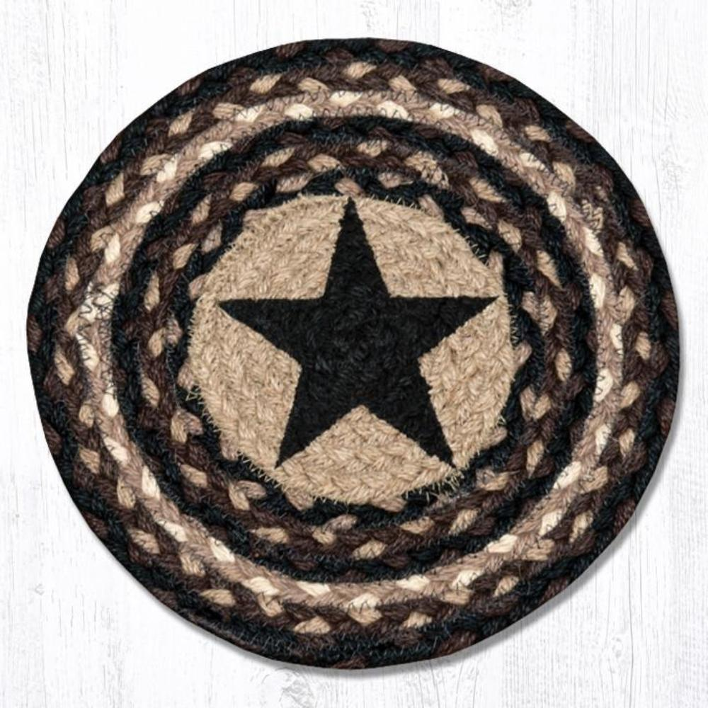 Earth Rug - Braided Round Trivet - Black Star - 10in
