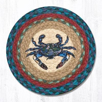 Earth Rug - Braided Round Trivet - Blue Crab - 10in