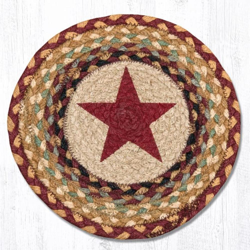Earth Rug - Braided Round Trivet - Burgundy Star - 10in