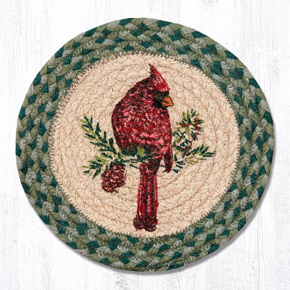 Earth Rug - Braided Round Trivet - Cardinal - 10in