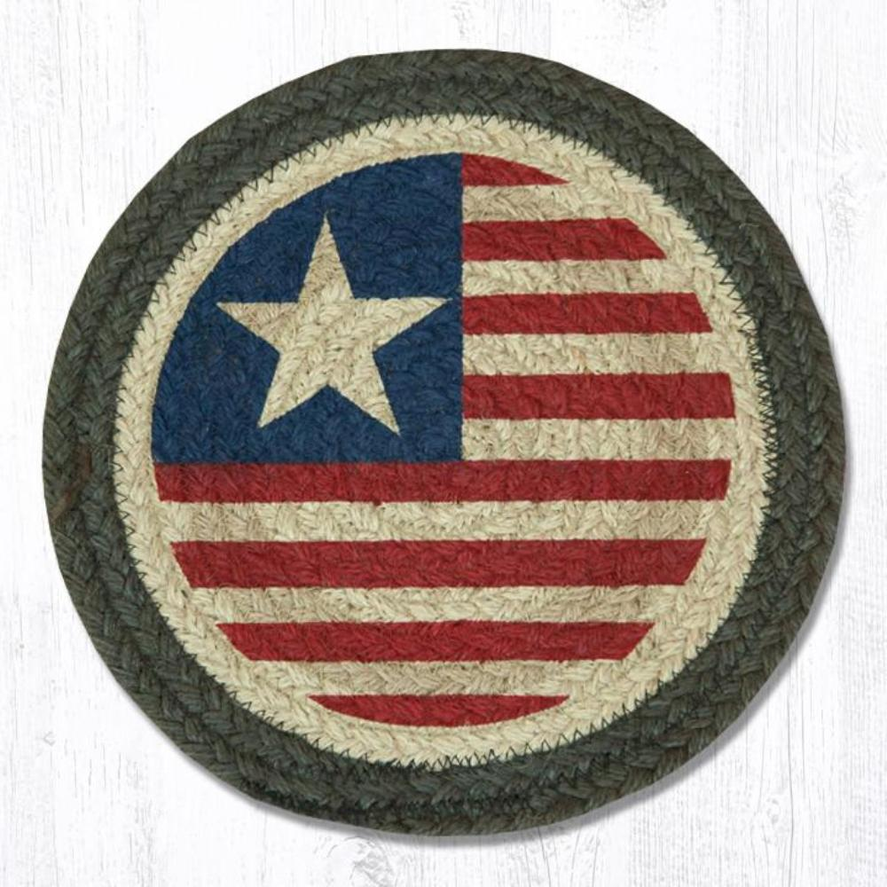 Earth Rug - Braided Round Trivet - Original Flag - 10in