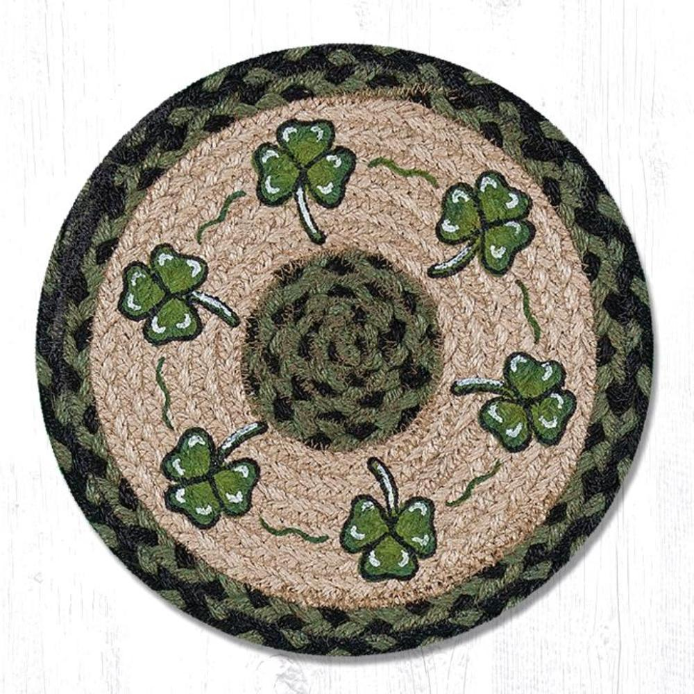 Earth Rug - Braided Round Trivet - Shamrock - 10in