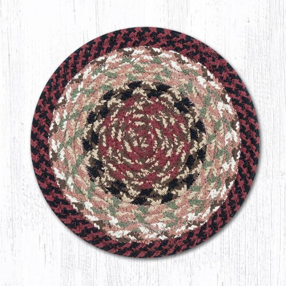 Earth Rug - Braided Round Trivet - Burgundy/Mustard - 8in
