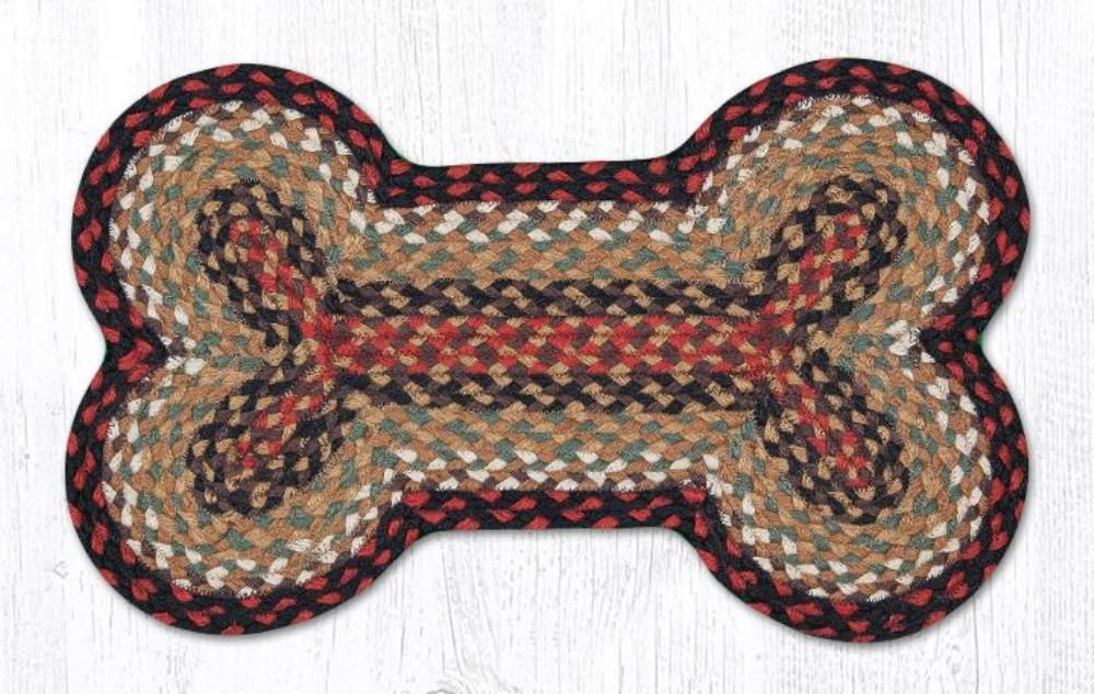 Earth Rug - Dog Bone Pet Placemat - Burgundy/Mustard - 13in x 22in