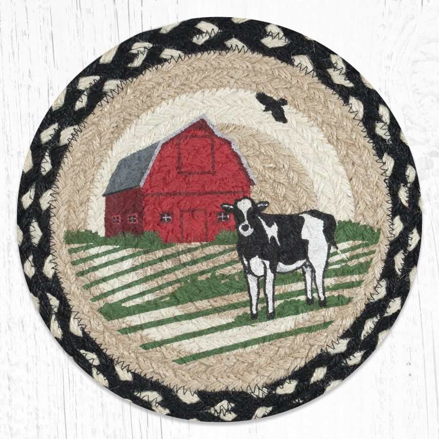 Braided Trivet - Round - Red Barn Cow - 10in