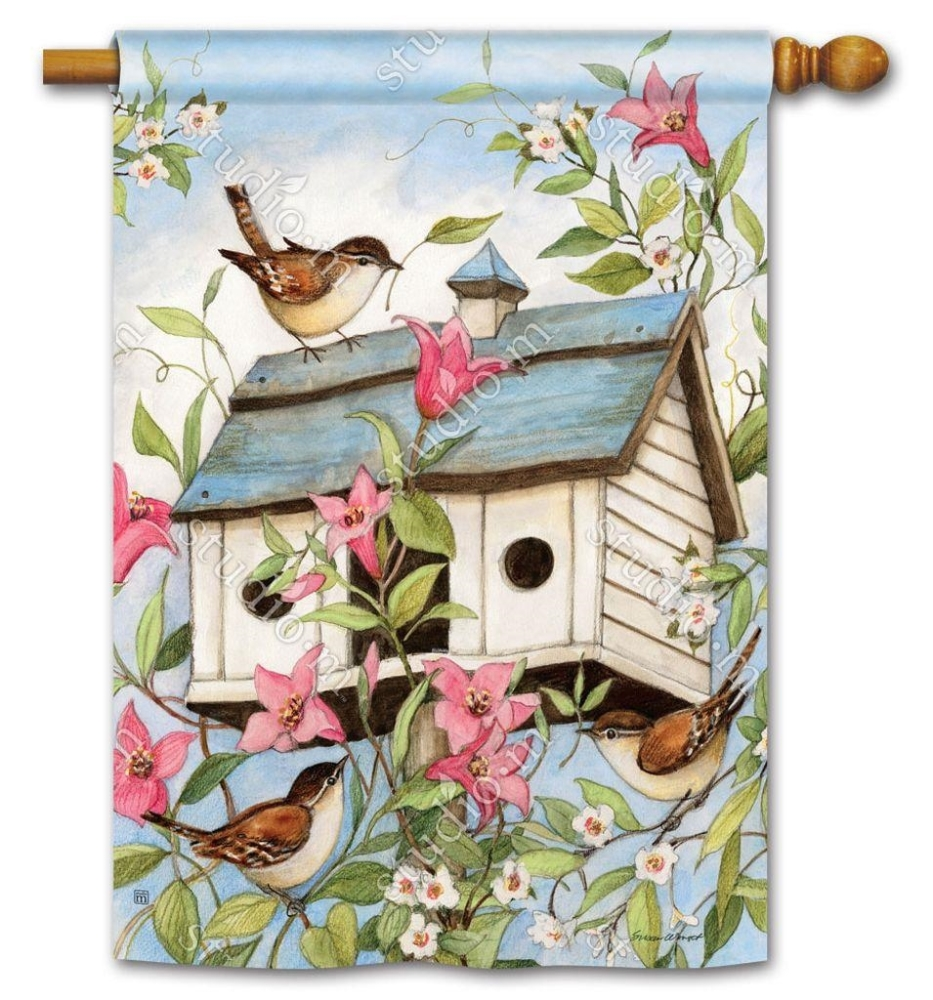 BreezeArt Outdoor Flag - Spring Birdhouse - 28in x 40in