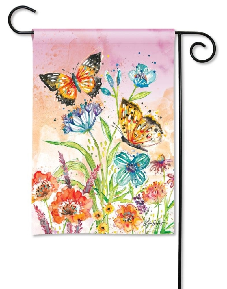 BreezeArt Small Garden Flag - Butterfly Blossoms - 12.5in x 18in