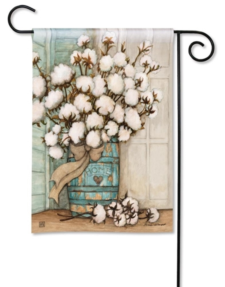 BreezeArt Small Garden Flag - Cotton Bolls - 12.5in x 18in