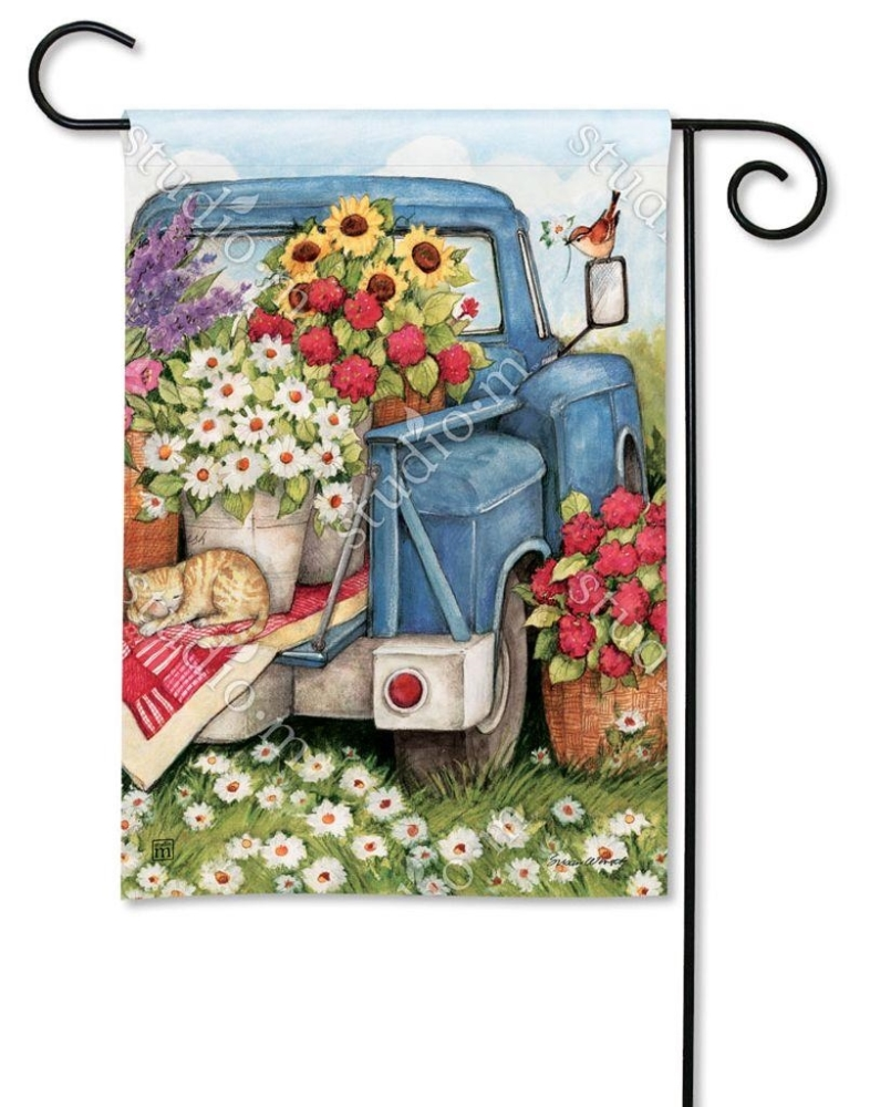 BreezeArt Small Garden Flag - Flower Picking Time - 12.5in x 18in