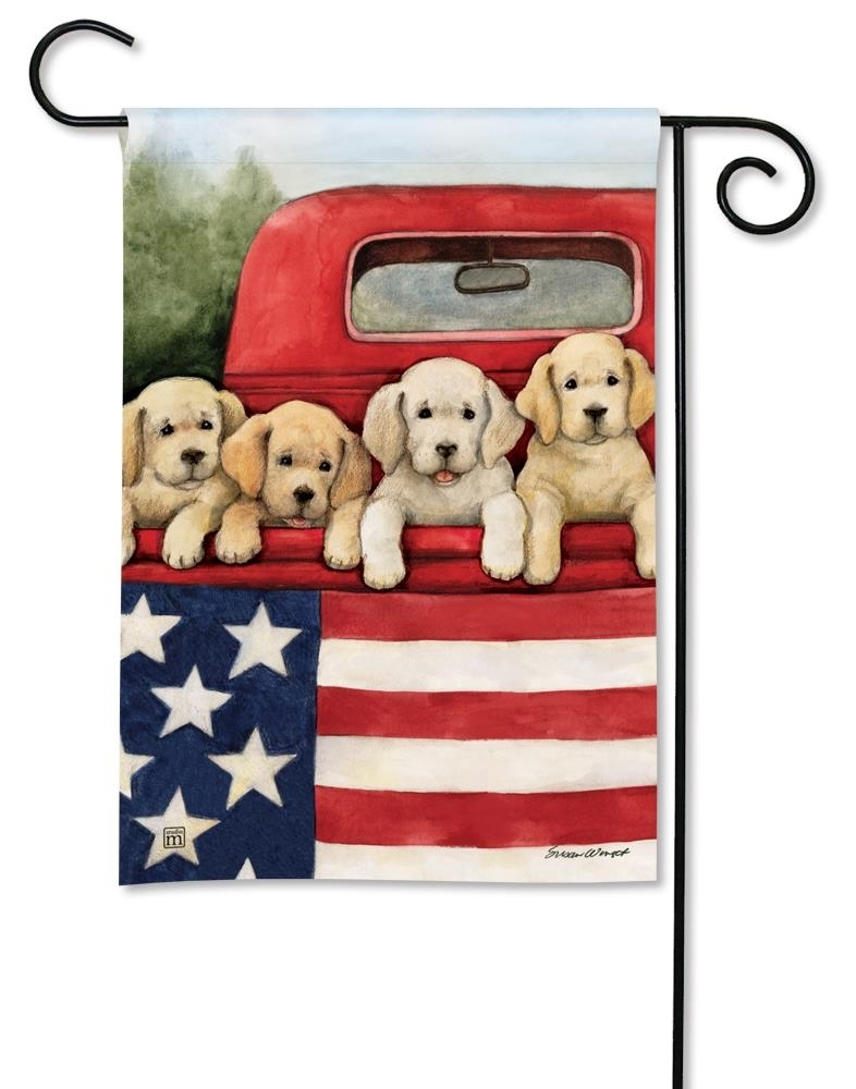 BreezeArt Small Garden Flag - Patriotic Puppies - 12.5in x 18in