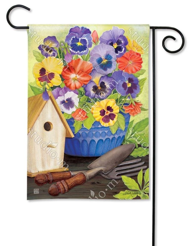 BreezeArt Small Garden Flag - Pretty Pansy and Birdhouse - 12.5in x 18in