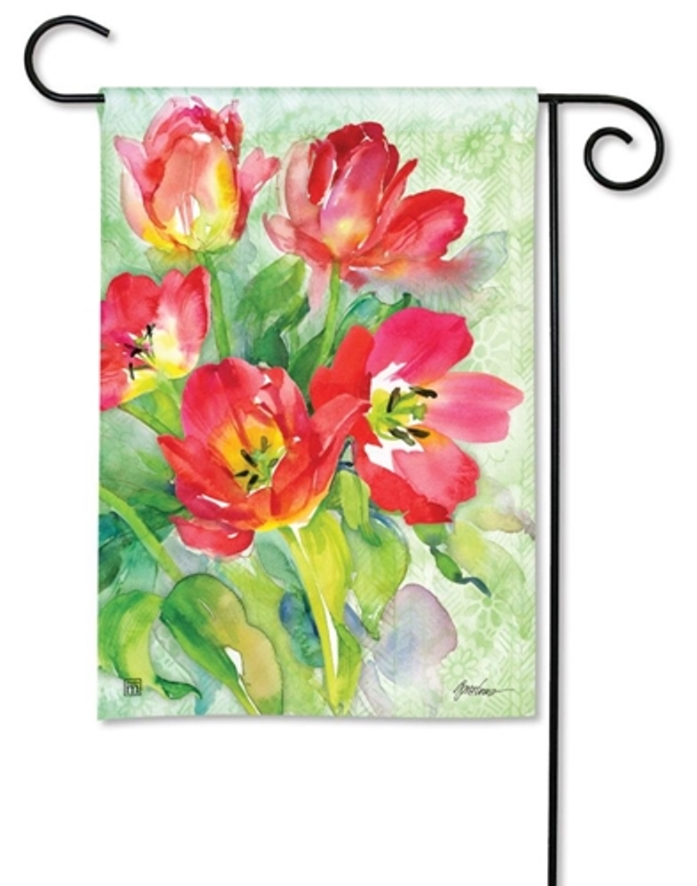 BreezeArt Small Garden Flag - Red Tulips - 12.5in x 18in