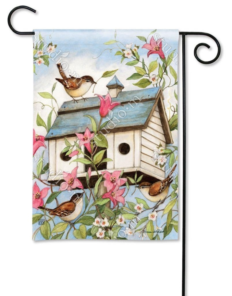 BreezeArt Small Garden Flag - Spring Birdhouse - 12.5in x 18in