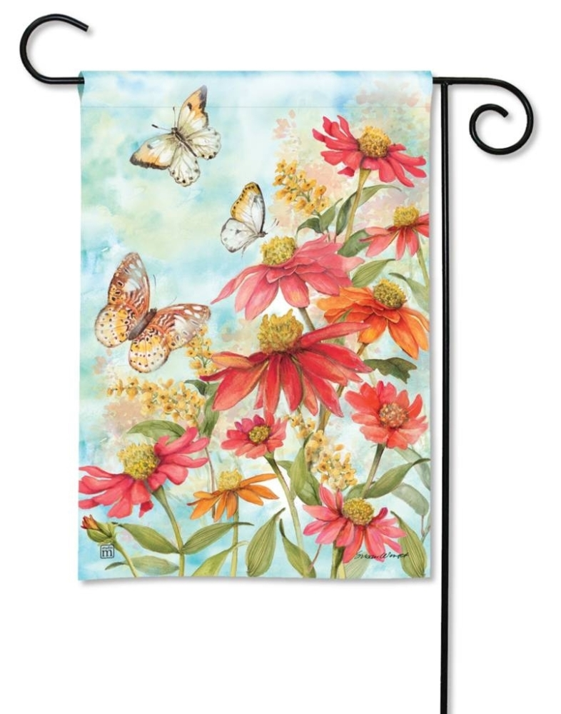 BreezeArt Small Garden Flag - Summer Zinnias - 12.5in x 18in