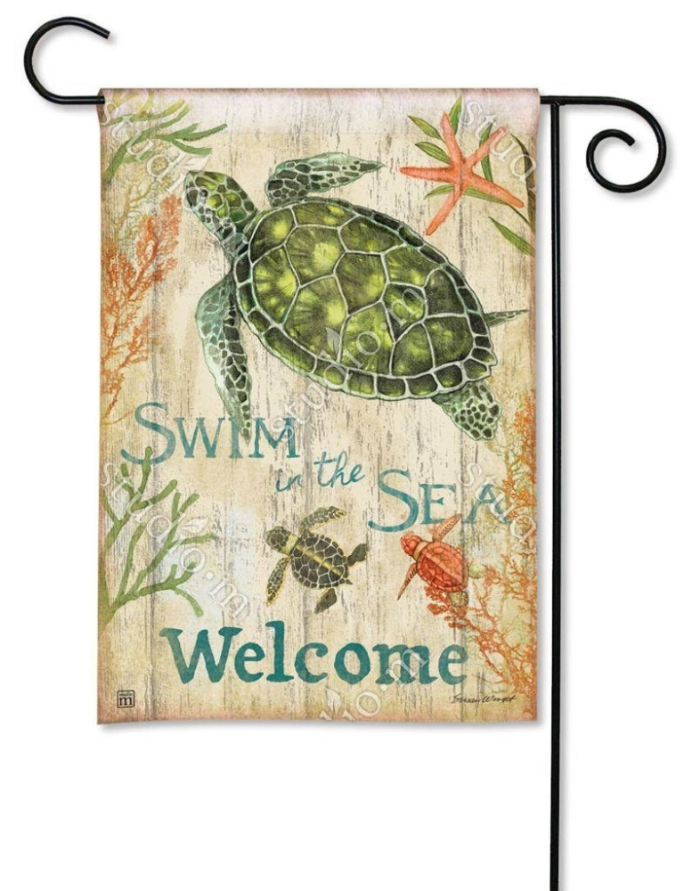 BreezeArt Small Garden Flag - Swim in the Sea Welcome - 12.5in x 18in
