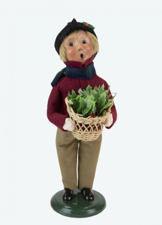 Byers Choice Caroler - Boy with Holiday Greens 2021